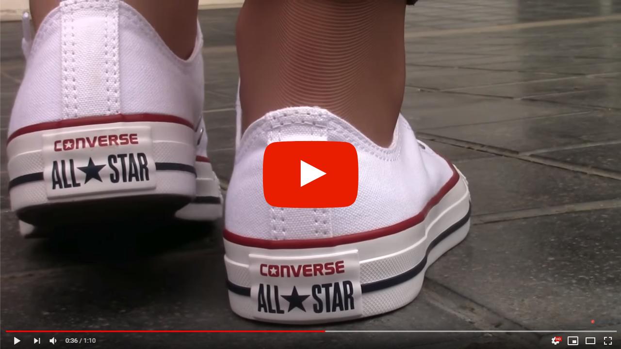 video zapatillas converse bajas blancas